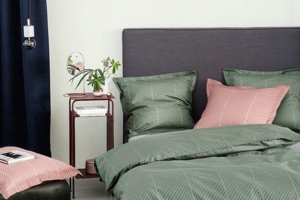 Bettwäsche grün aus Damast