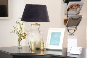 Lampe mit Samtschirm